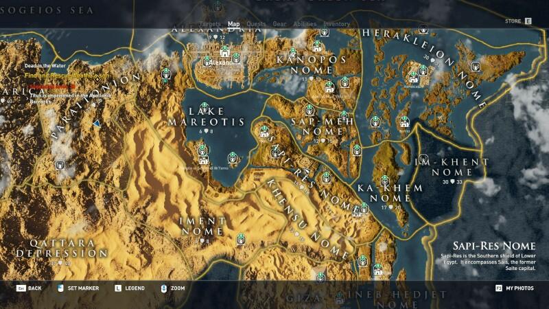 assassins creed odyssey map size vs skyrim